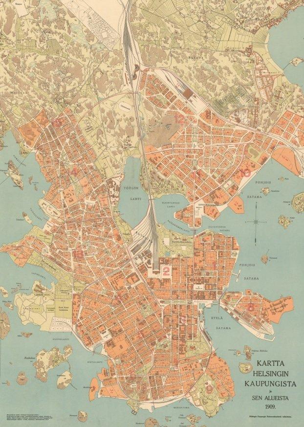 Kartta Helsingin Kaupungista 1909 Karttalehtinen